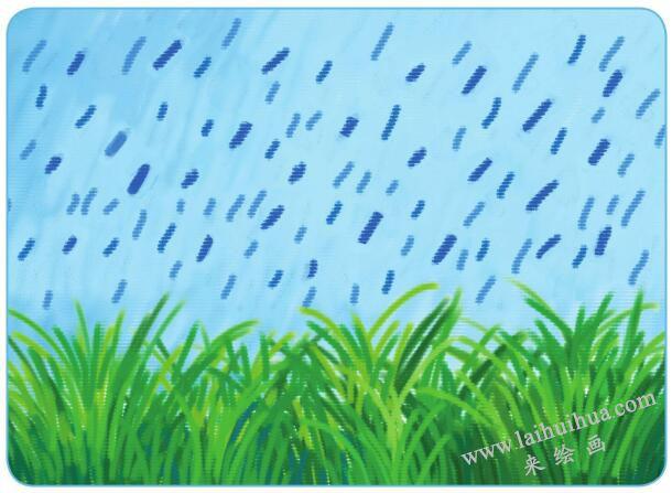 雨中的小草油棒画