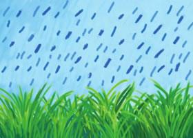 雨中的小草油棒画画法步骤