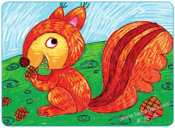 活泼的小松鼠油棒画