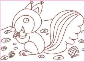 活泼的小松鼠油棒画画法步骤01