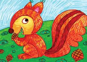 活泼的小松鼠油棒画画法步骤