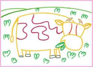 快活的小牛油棒画画法步骤01