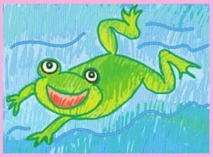 爱唱歌的小青蛙油棒画画法步骤03