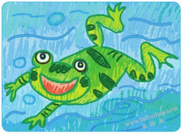 爱唱歌的小青蛙油棒画