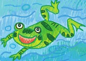 爱唱歌的小青蛙油棒画画法步骤