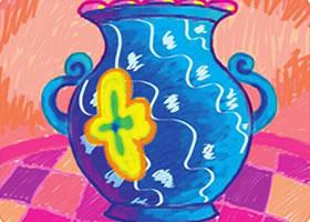 亮丽的花瓶油棒画画法步骤