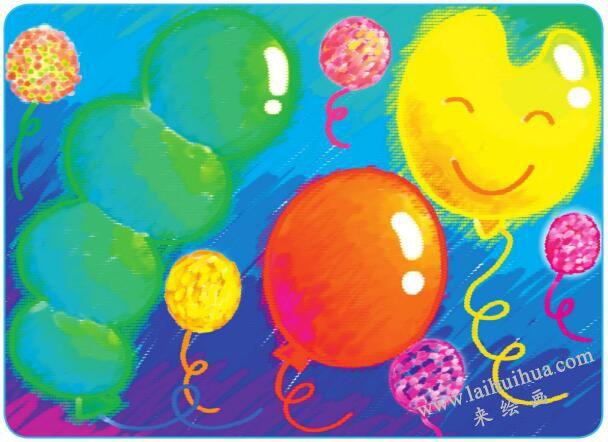 天上的气球油棒画
