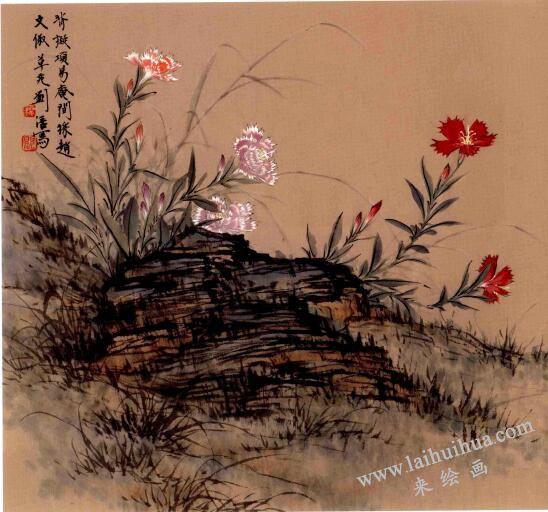 折带皴画片石野花