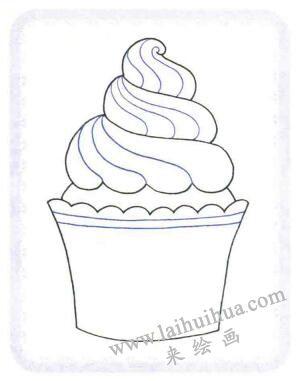 纸杯蛋糕简笔画法步骤02