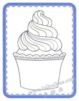 纸杯蛋糕简笔画法步骤03