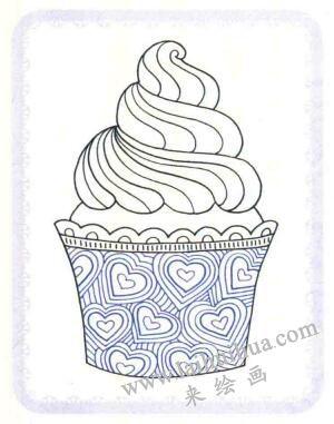 纸杯蛋糕简笔画法步骤04