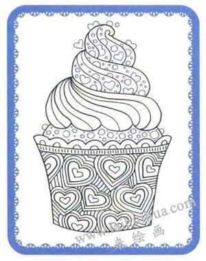 纸杯蛋糕简笔画法步骤05