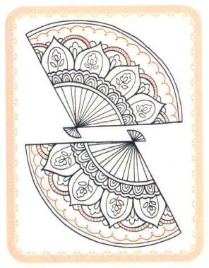 扇子简笔画法步骤06