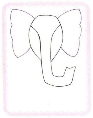 大象简笔画法步骤02