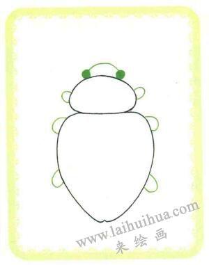 甲壳虫简笔画法步骤02