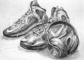 鞋类素描实训案例一
