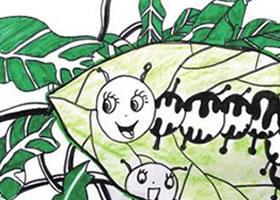 毛毛虫与树叶儿童绘画步骤教
