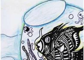 漂亮的鱼缸儿童绘画步骤