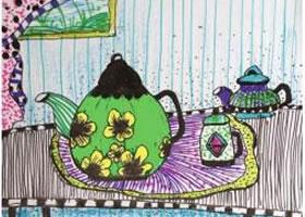 茶壶写生儿童绘画步骤