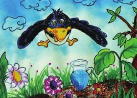 《乌鸦喝水》儿童绘画步骤