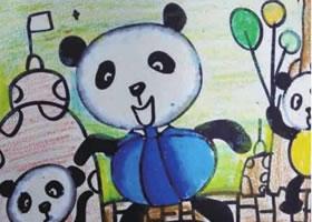 熊猫杂耍儿童绘画步骤
