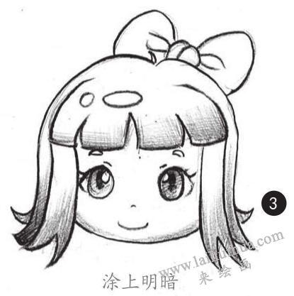 女生头发素描画法步骤03