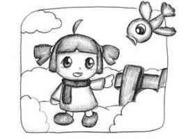 扎辫子的小女孩创意素描画法步骤