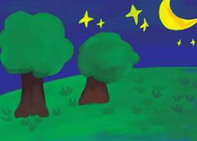 夜晚水粉画绘画步骤