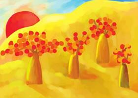 落日水粉画绘画步骤