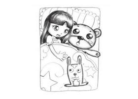 小女孩抱着兔子玩具睡觉创意素描画法
