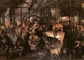 世界名画《轧铁工厂》