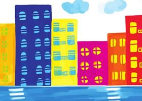 高楼大厦水粉画作画步骤