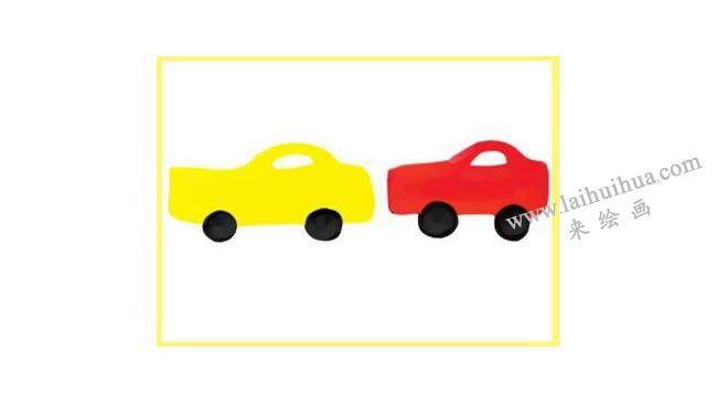 马路上的汽车水粉画作画步骤02