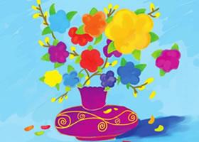 花朵和花瓶水粉画绘画步骤