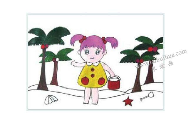 拾贝壳的女孩水粉画作画步骤03