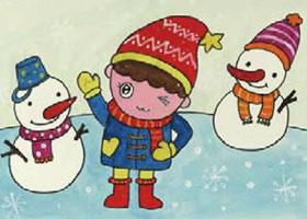 小男孩和雪娃娃水粉画画法