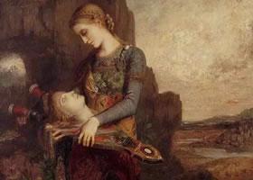 世界名画《色雷斯姑娘拿着俄耳甫斯的头》