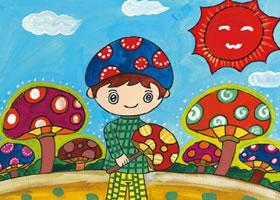 摘蘑菇的小男孩水粉画作画步骤