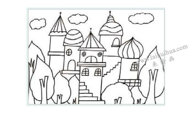 漂亮的城堡水粉画作画步骤01