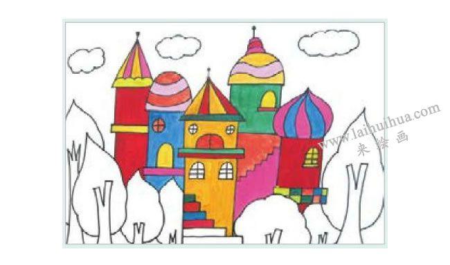 漂亮的城堡水粉画作画步骤02