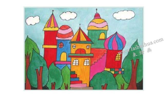 漂亮的城堡水粉画作画步骤03