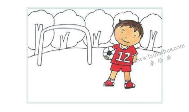 足球小子水粉画作画步骤02