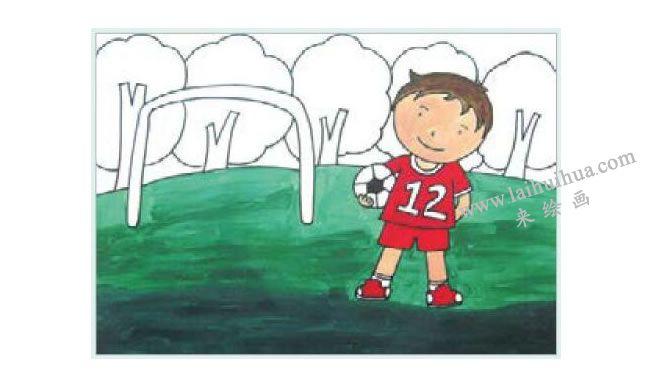足球小子水粉画作画步骤03