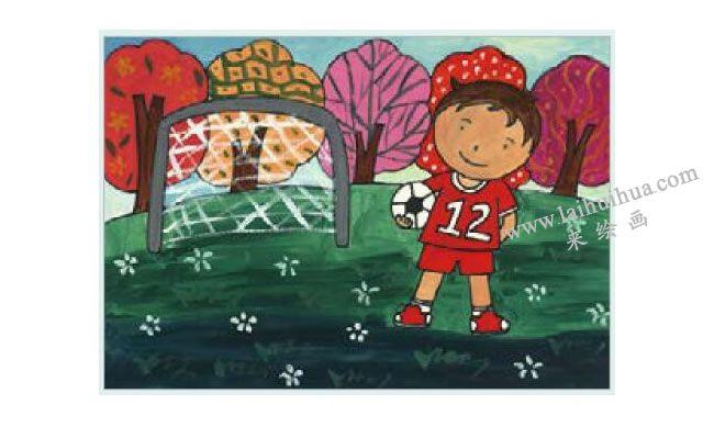 足球小子水粉画作画步骤04