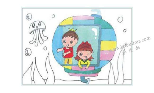 海底世界水粉画作画步骤02