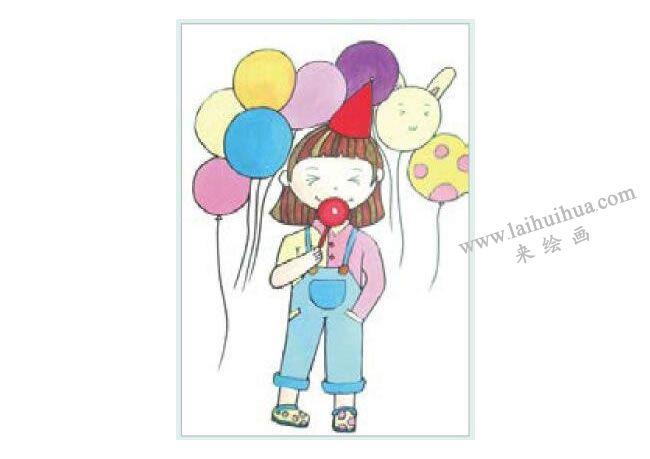 快乐的小女孩水粉画作画步骤03