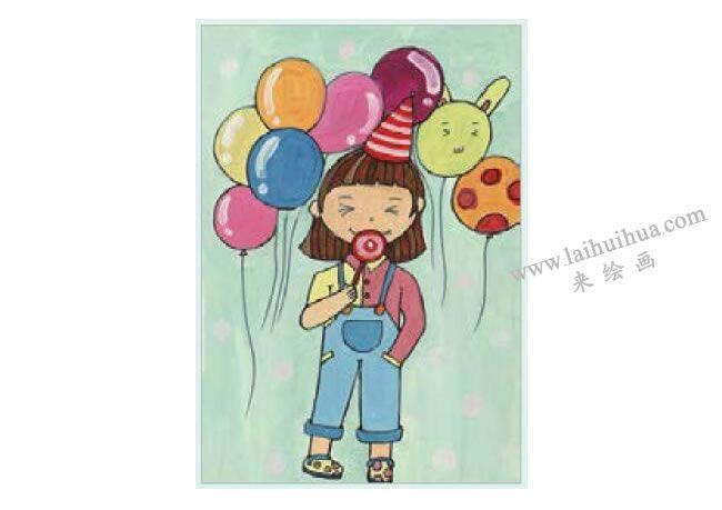 快乐的小女孩水粉画作画步骤04