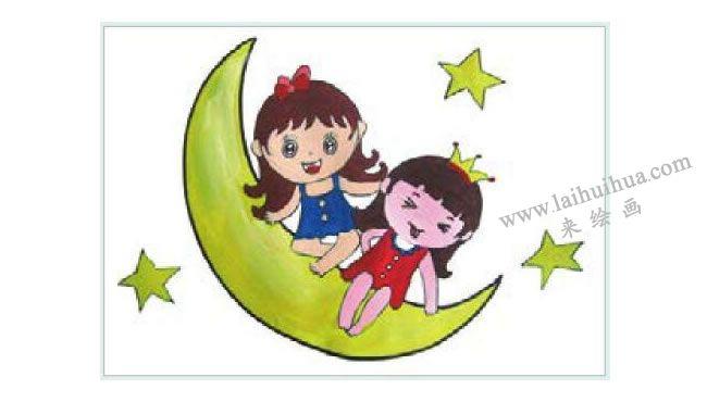 月亮公主水粉画作画步骤02