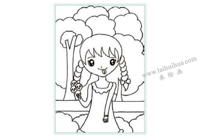 吃冰激凌的女孩水粉画作画步骤01