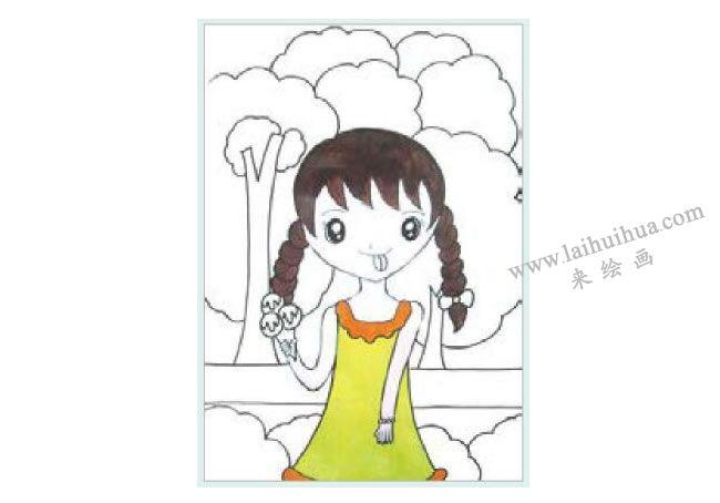 吃冰激凌的女孩水粉画作画步骤02